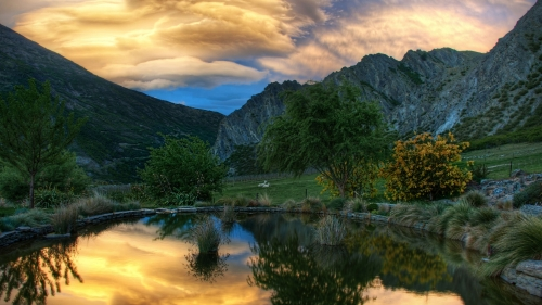 Beautiful Pond Gibbston World Travel New Zealand HD Wallpaper