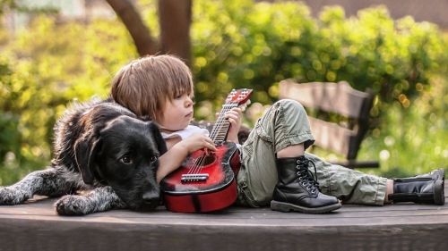 Boy Playing Guitar Cute Wallpaper