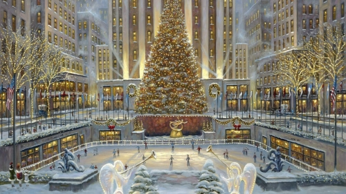 Christmas In New York Artistic Work Paintings 2560x1600 QHD Wallpaper 82