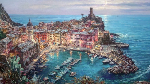 City By The Sea Artistic Work Paintings 2560x1600 QHD Wallpaper 87