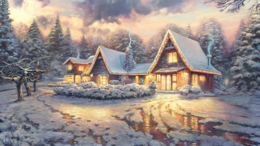 Cottage In The Woods Artistic Work Paintings 2560x1600 QHD Wallpaper 67