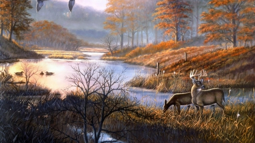 Deers By The River Artistic Work Paintings 2560x1600 QHD Wallpaper 70