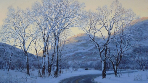 Drive Through The Woods In The Snow Artistic Work Paintings 2560x1600 QHD Wallpaper 84