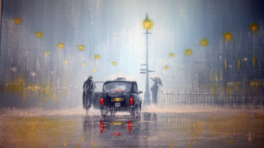 Finding A Taxi In The Rain Artistic Work Paintings 2560x1600 QHD Wallpaper 75