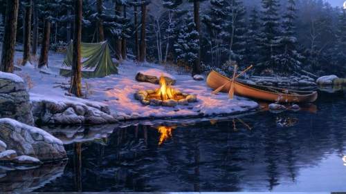 Fire By The River Artistic Work Paintings 2560x1600 QHD Wallpaper 64