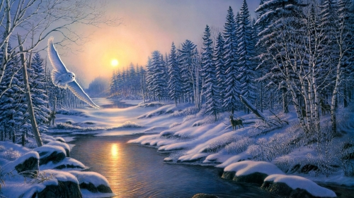 Frozen River Artistic Work Paintings 2560x1600 QHD Wallpaper 101