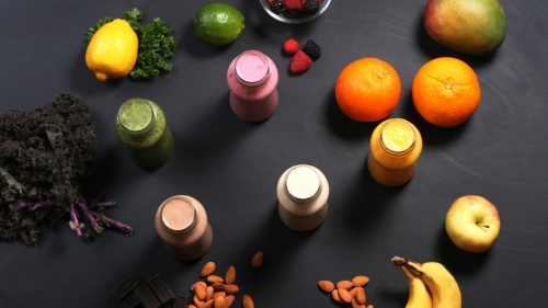 Fruit Smoothies Banana Apple Orange Nuts Chocolate Mango   4K Food Wallpaper