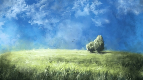 Green Valley And Blue Sky Artistic Work Paintings 2560x1600 QHD Wallpaper 48