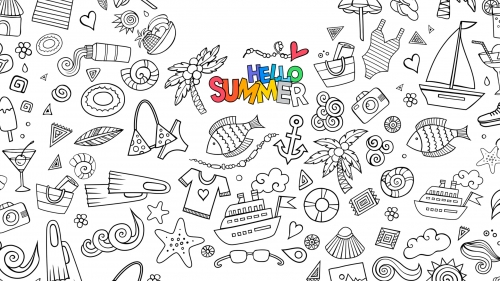 Hello Summer Vector QHD Wallpaper