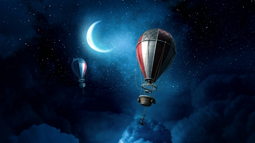 Hot Air Baloon Anchored Over The Clouds On A Starry Night Fantasy QHD Wallpaper