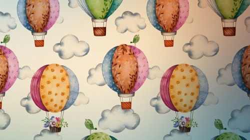 Hot Air Baloons With Flower Pots Vector QHD Wallpaper