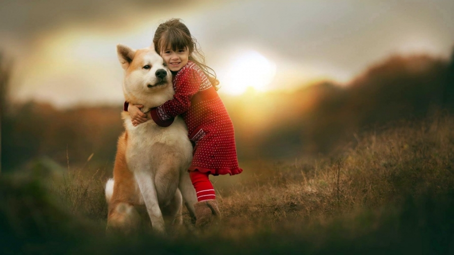 Little Girl With Her Dog   Photography HD Wallpaper