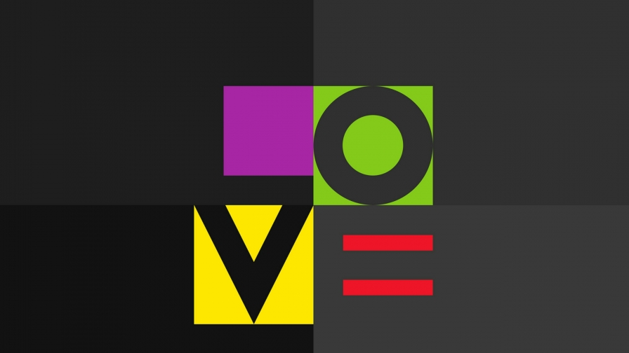 Love Spelled In Abstract Shapes Abstract QHD Wallpaper