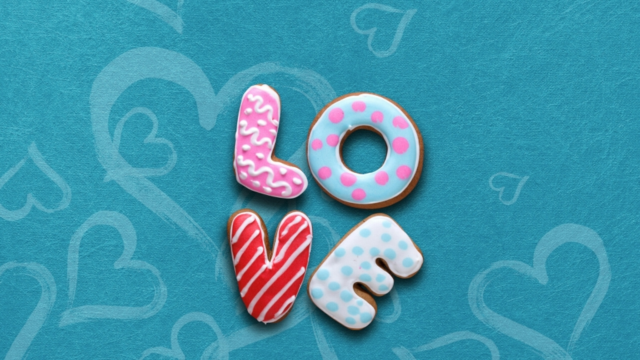 Love Spelled With Cookies Emotions QHD Wallpaper