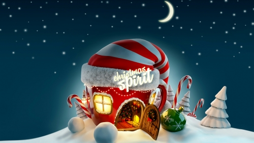 Merry Christmas From Santa Village With Snow On A Starry Night Events QHD Wallpaper