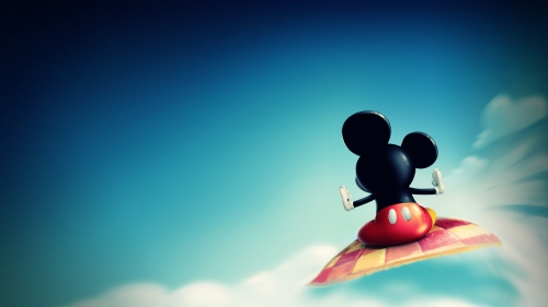 Mickey Mouse Flying Away Creative HD Wallpaper