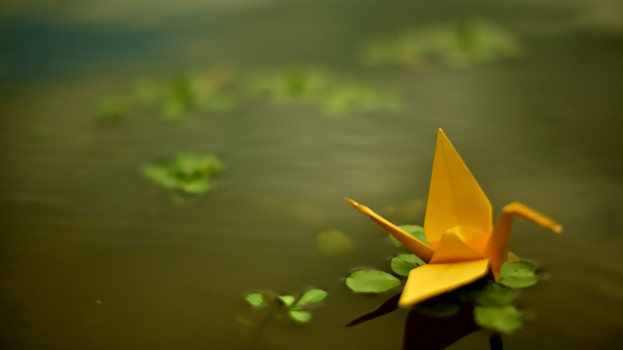 Origami Yellow Paper HD Wallpaper