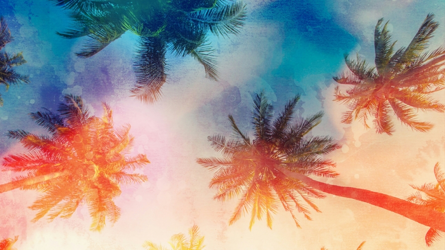Palm Trees Abstract QHD Wallpaper