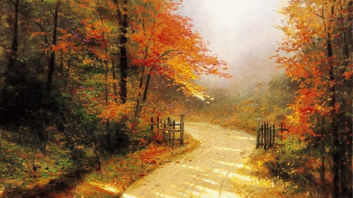Path In The Woods Artistic Work Paintings 2560x1600 QHD Wallpaper 109