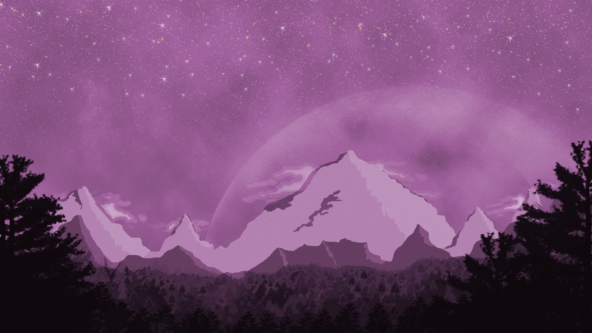 Pink Mountain Abstract HD Wallpaper