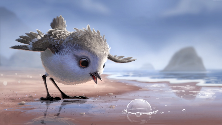 Piper The Pixar Bird Looking at the Water Bubble