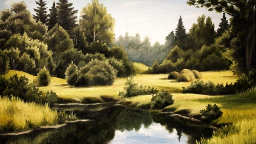 Pond In The Woods Artistic Work Paintings 2560x1600 QHD Wallpaper 80