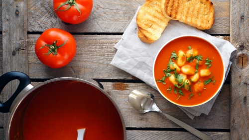 Puree Soup Tomato Gnocchi Toast Herbs   4K Food Wallpaper