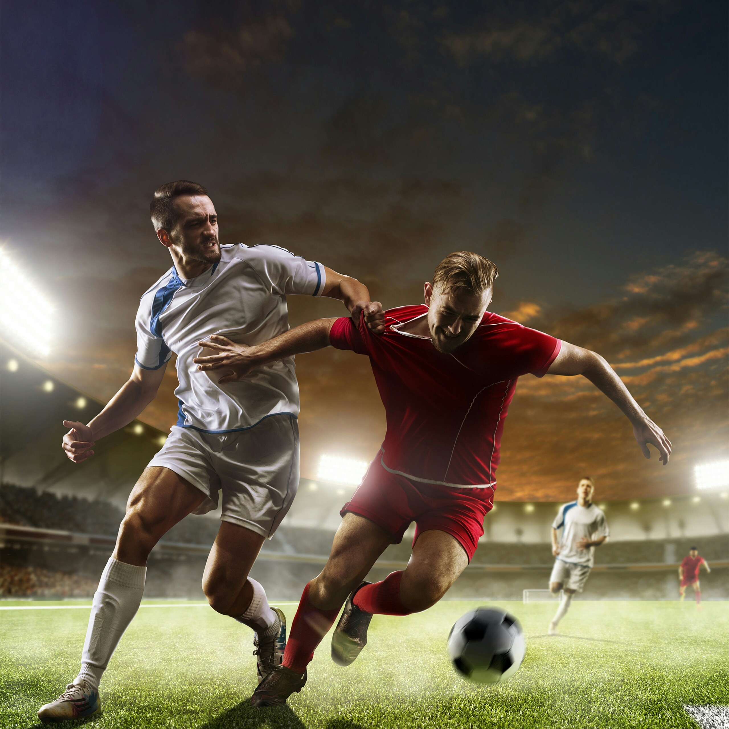 Pushing In The Field Soccer Football Players Sports QHD Wallpaper