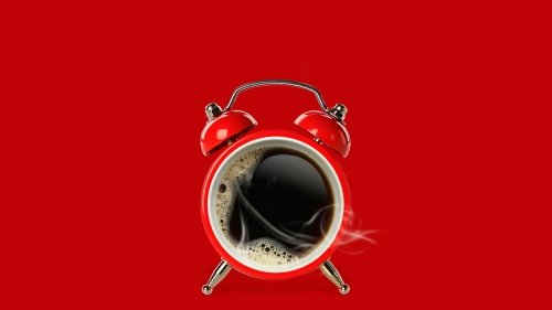 Red Coffee Cup And Alarm Clock Creative QHD Wallpaper