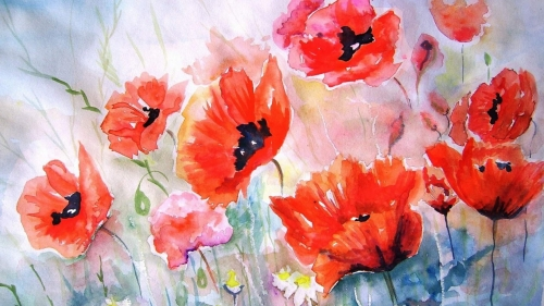 Red Flowers Artistic Work Paintings 2560x1600 QHD Wallpaper 68