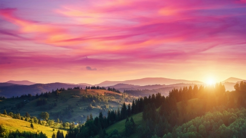 Red Sky Over A Green Valley Nature QHD Wallpaper