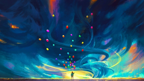 Releasing Baloons In The Air Fantasy QHD Wallpaper