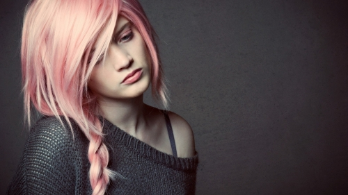 Sad Girl With Pink Hair HD Wallpaper