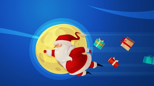 Santa Clause Flying Over The Moon With Gifts Following Him Events QHD Wallpaper