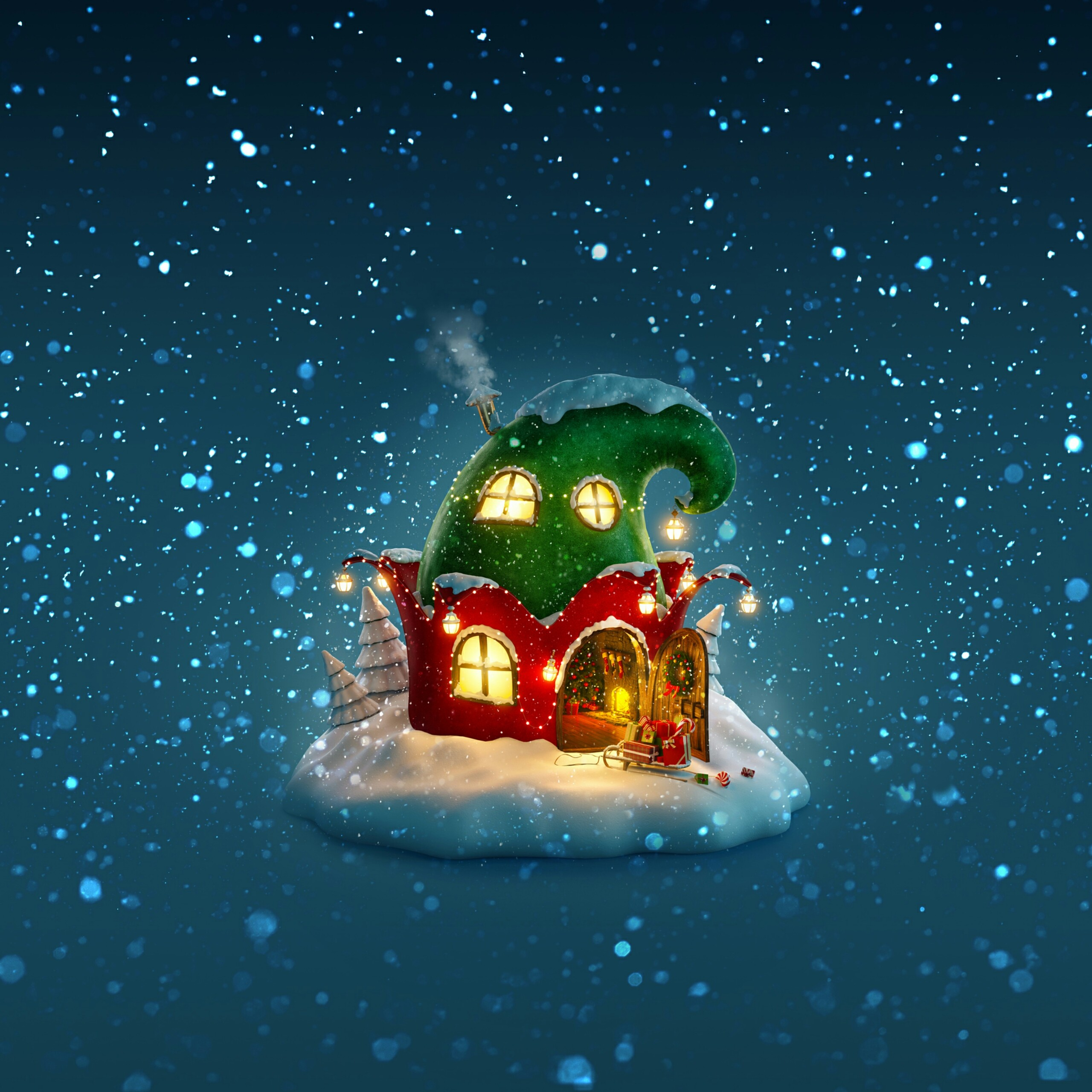 santa clause home on a snowy night events qhd wallpaper 2560x2560