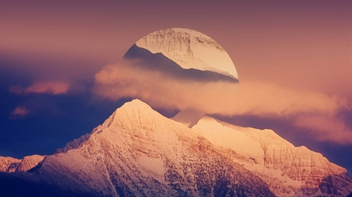 Shade Of Mountain Over The Moon Fantasy QHD Wallpaper