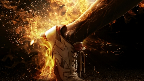 Shoes On Fire A Soccer Football Player Running Sports QHD Wallpaper