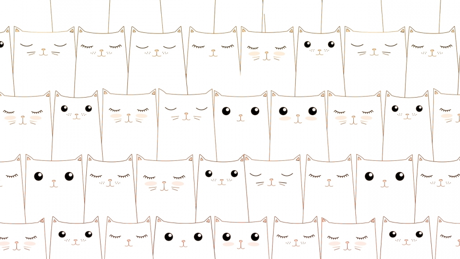 Sleeping Kittens Awake Kittens Vector QHD Wallpaper