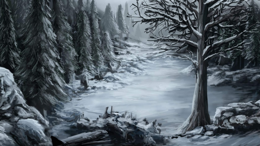Snow In The Forest Artistic Work Paintings 2560x1600 QHD Wallpaper 53