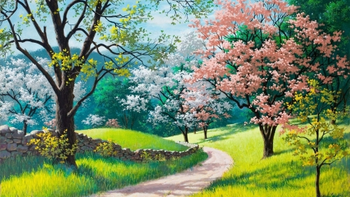 Spring Path Artistic Work Paintings 2560x1600 QHD Wallpaper 110