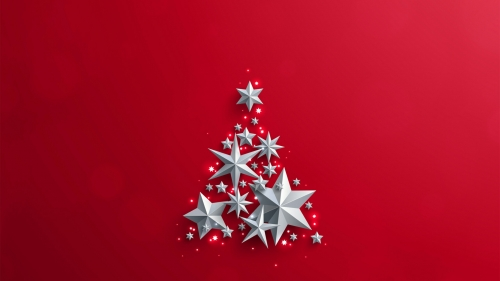 Stars Forming A Christmas Tree With Red Background Events QHD Wallpaper