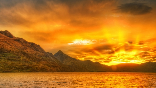 Sunset At Wakatipu Lake World Travel New Zealand HD Wallpaper