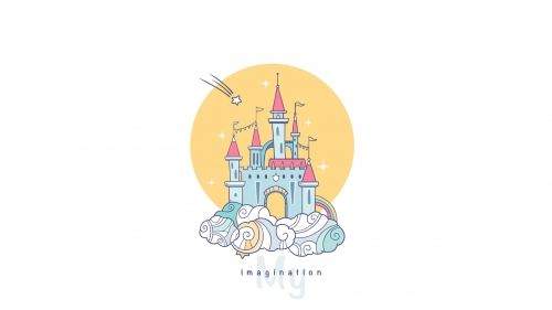 The Imagination Castle Vector QHD Wallpaper