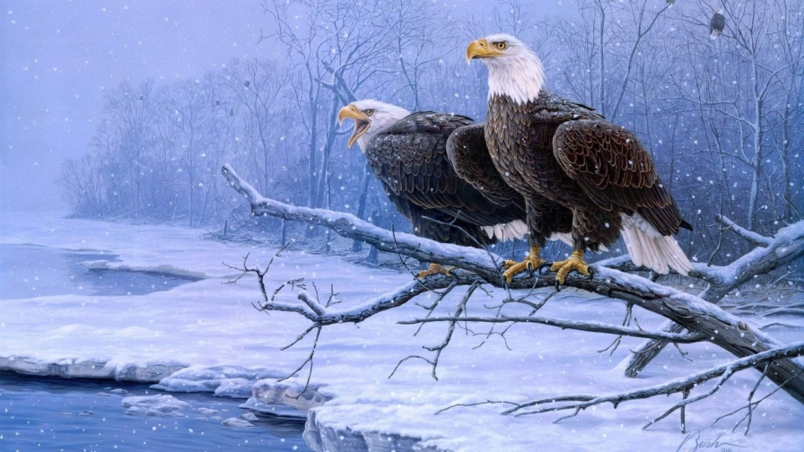 Two Eagles Sitting On A Branch In The Snow Artistic Work Paintings 2560x1600 QHD Wallpaper 90