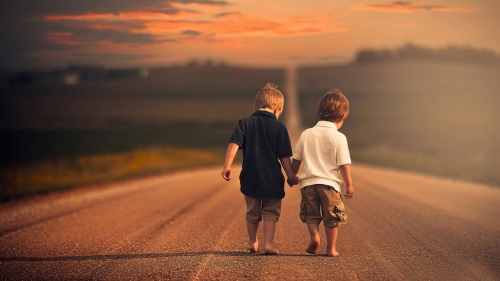 Two Friends Walking Down The Road   Photography HD Wallpaper