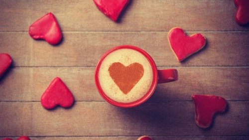 Valentine Day Love Gift Romance Heart Coffee Cup Cream    4K Food Wallpaper