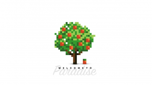 Welcome To Paradise Pixel View Vector QHD Wallpaper