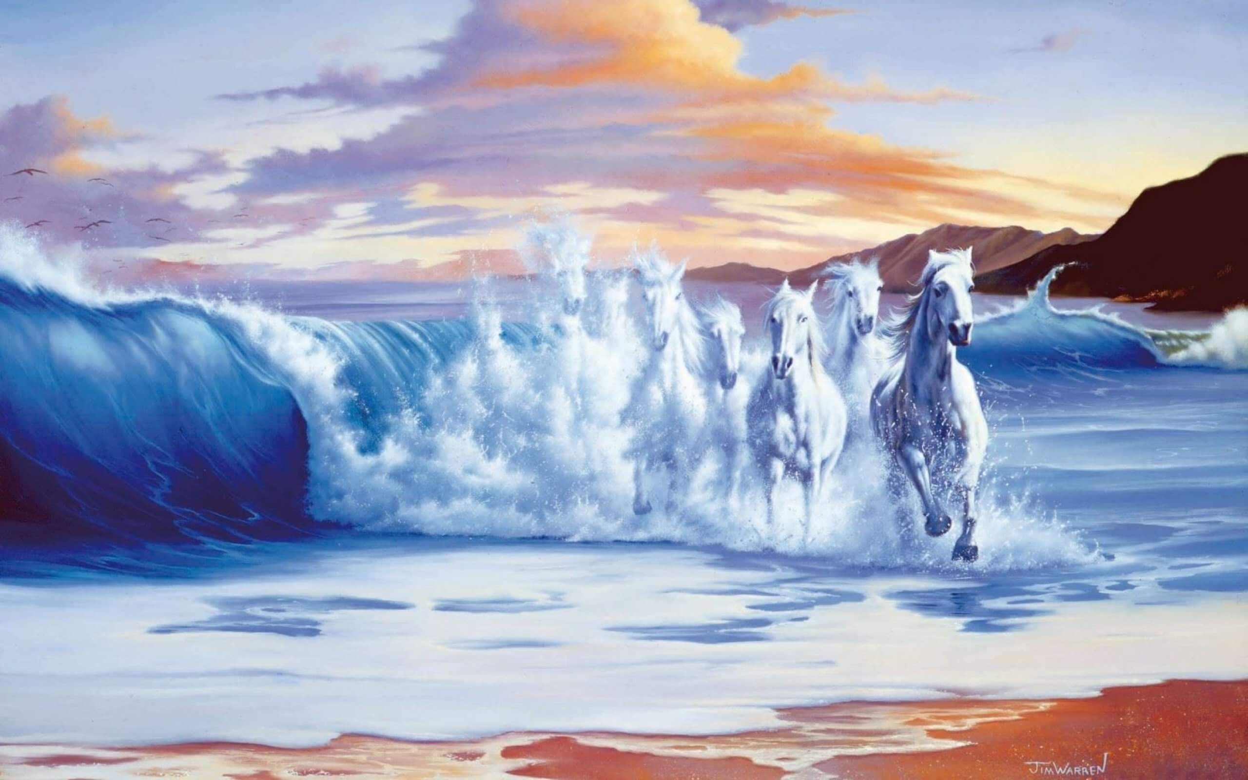 White Horses Running Out Of The Sea Artistic Work Paintings